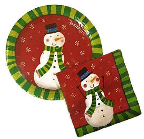 Amazon.com: Christmas Holiday Winter Snowman and Snowflakes Paper ...