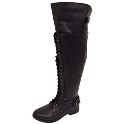 6d7884abf53 Ladies Black Extra Wide Fit Calf Lace-Up Biker Knee-High Riding Military  Boots Sizes 6-11  Amazon.co.uk  Shoes   Bags