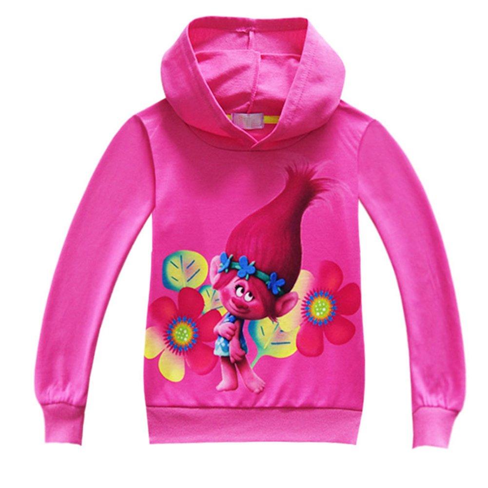 ZHBNN Trolls Girls Long Sleeve Pullover Hoodie Sweatshirt Jacket Coat (Rose,130/6-7Y)