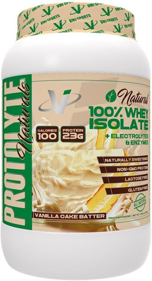 VMI Sports protolyte Natural aislado de proteína de suero en polvo vainilla deliciosa torta de masa cero azúcar con electrolitos añadidos enzimas ...