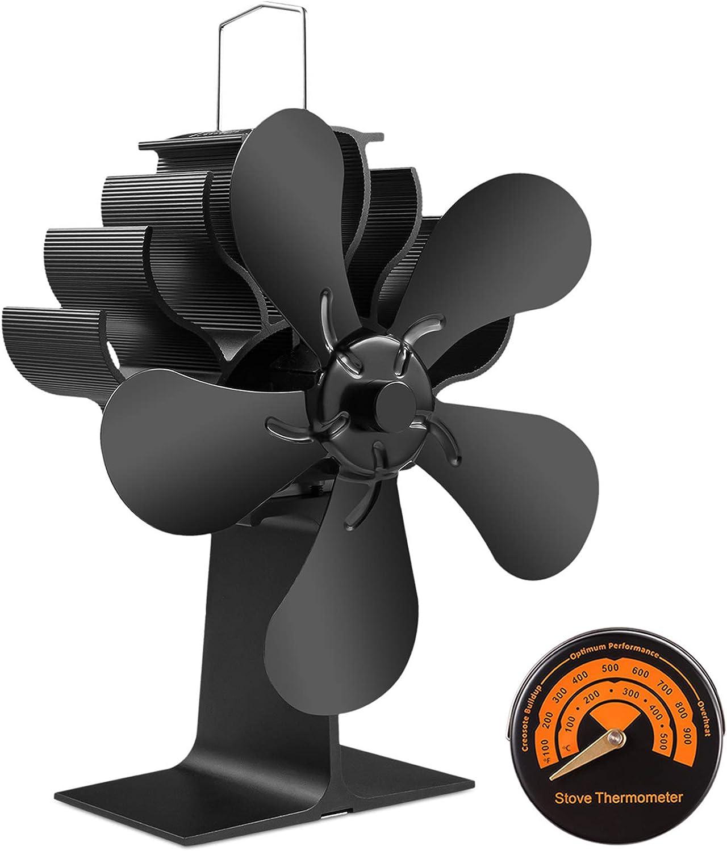 5 Blade Wood Stove Fan Fireplace Fire Heat Powered Wood Burner Saving Eco Fan