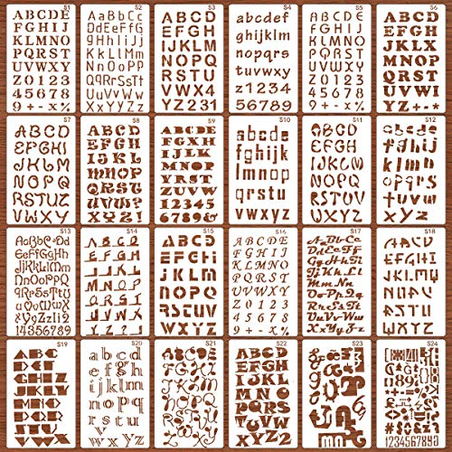 24 Pack Drawing Painting Stencils Template Sets, Number and Alphabet Letter Drawing Painting Stencils Template for Scrapbooking, Card and Craft Projects
