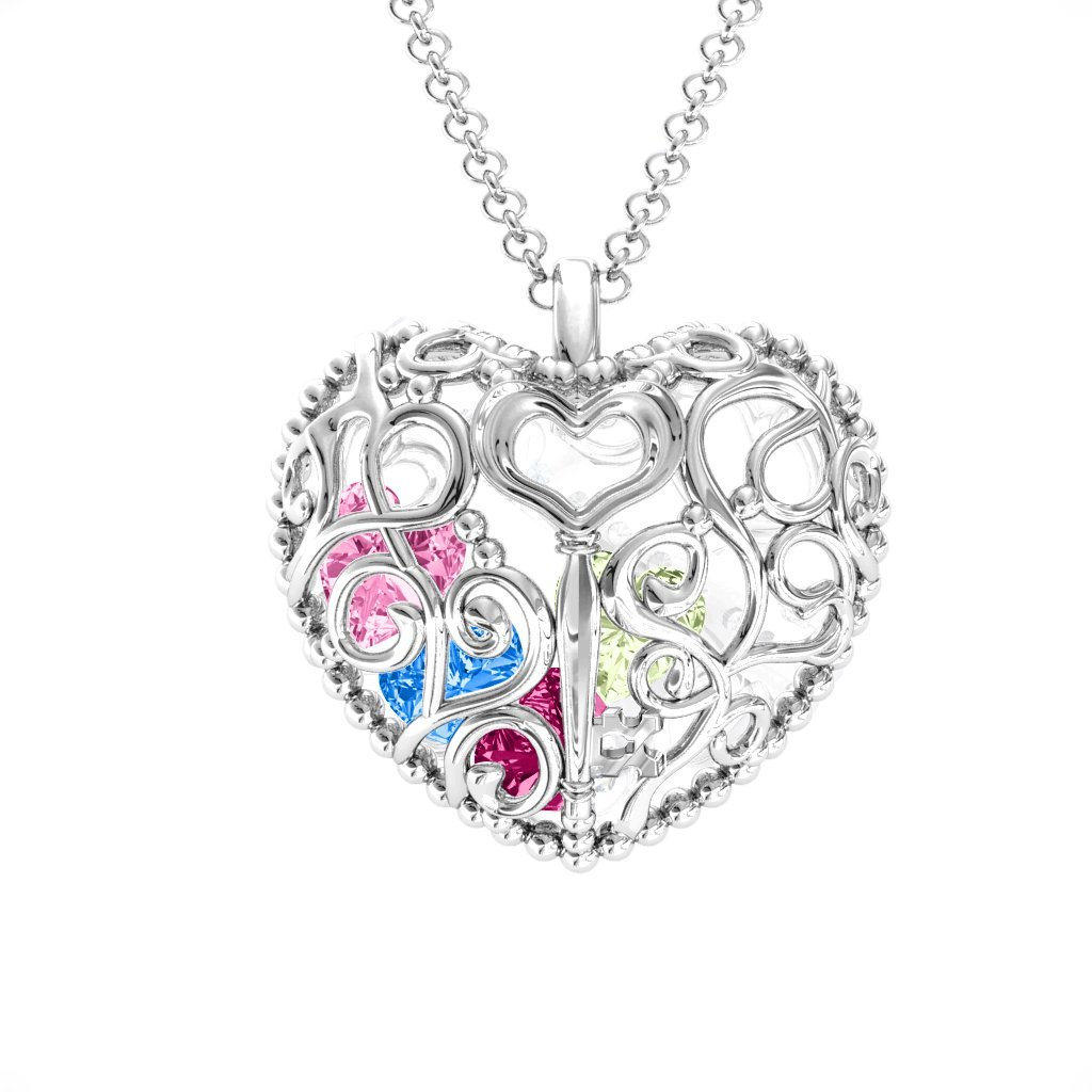 Sterling Silver Engravable Heart Cage Pendant with Personalized Birthstones by JEWLR