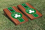 Boston Celtics NBA Basketball Regulation Cornhole Game Set Rosewood Stained Stripe Version