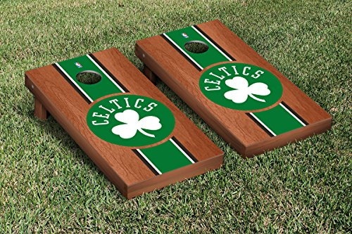 Boston Celtics NBA Basketball Regulation Cornhole Game Set Rosewood Stained Stripe Version by Victory Tailgate