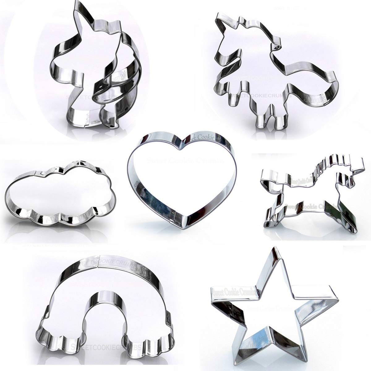 Unicorn Cookie Cutter Set, 7 Piece Party Pack, Stainless Steel