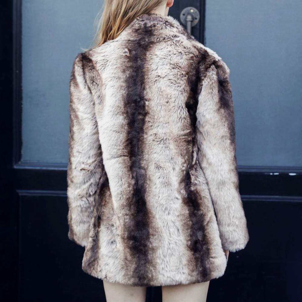 Kangma Women Casual Solid Color Notch Collar Autumn Winter Faux Fur Coat Outwear