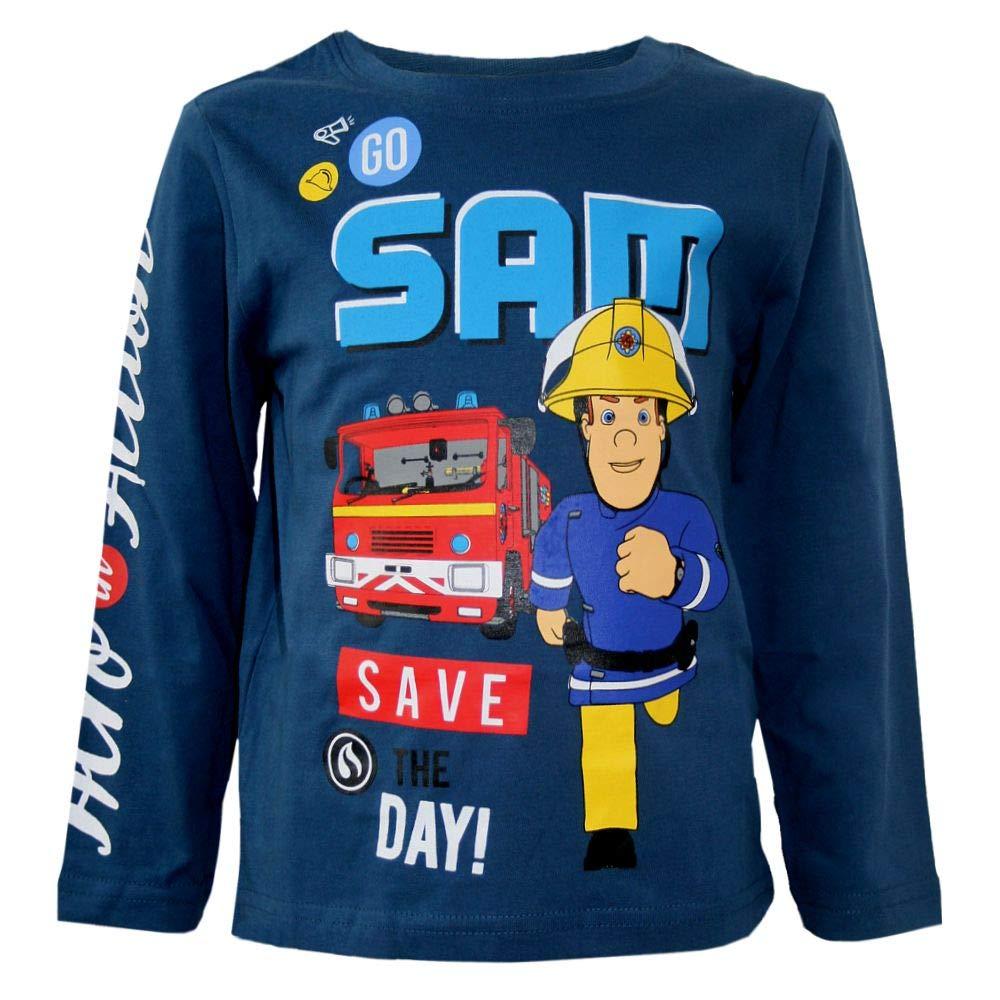 Taglia 98-116 Maglietta a Maniche Lunghe da Bambino Feuerwehrmann Sam