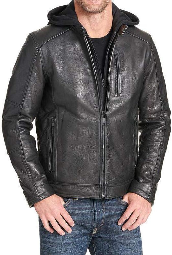 Detachable Hood Trailblazerzz Mens Leather Jackets Motorcycle Bomber Biker Real Lambskin Hoodie Leather Jacket for Men