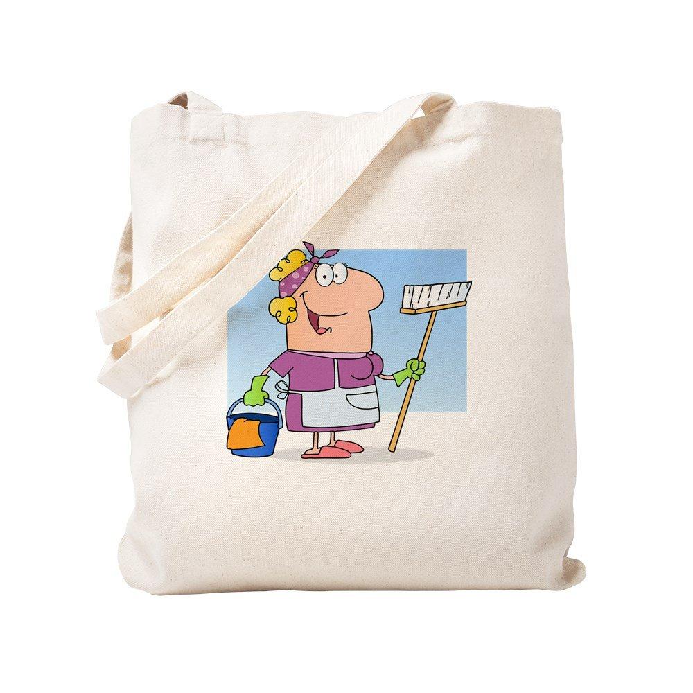 CafePress – Cartoon Maid Cleaning Ladyハウスキーパー – ナチュラルキャンバストートバッグ、布ショッピングバッグ S ベージュ 0902801796DECC2 B0773SZ56B  S