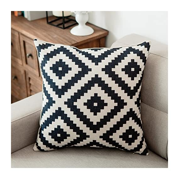 YeeJu Set of 4 Geometric Decorative Throw Pillow Covers Square Cotton Linen Cushion Covers Outdoor Sofa Home Pillow Covers 18x18 Inch - ELEVATE YOUR ROOM DECOR! Let these attractive geometric throw pillow covers add a freshness, dynamic, fashionable and cozy feel to your life atmosphere. Definitely these amazing 18X18 Inches throw pillow covers will be your Home Highlights! YOUR COMFORT IS OUR TOP NOTCH! With fantastic moisture absorption and wet dissipation, our 100% natural cotton linen is the perfect fabric for cushion cover or sofa throw pillow cases. As the premium comfort eco-friendly material, it offering the most restful relaxation, breathable cool touch in summer and warm touch in winter. DETAILS HIGHLIGHT THE QUALITY! Soft, breathable, textured made with color matching, invisible zipper, allows easy insertion and removal of pillow inserts. All fabric edges are sewn with overlock stitch to prevent fray and ensure the cushion case holds shape over time.Printed with healthy and environment friendly water-based ink, unfading, no stimulation to skin. - living-room-soft-furnishings, living-room, decorative-pillows - 61HKuUYmCCL. SS570  -