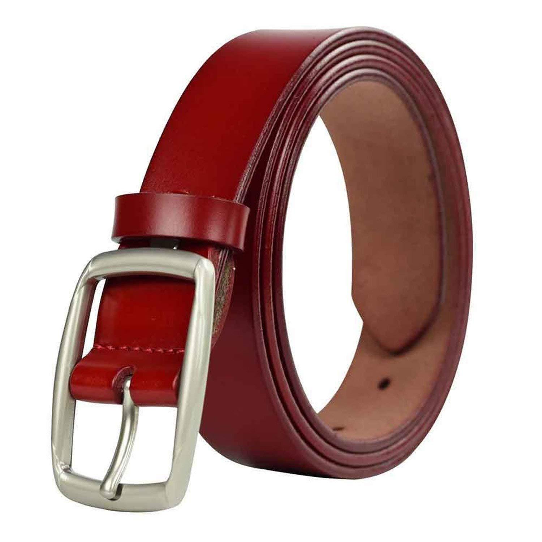 OnIn Leather Red Belt Jeans Female Solid Color Waist Strap Cummerbunds For Women,110cm,WineRed