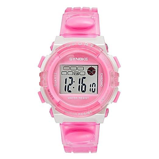 Souarts 23 cm niños Digital LED Deportes al aire libre reloj de pulsera impermeable luminoso alarma reloj rosa: Amazon.es: Relojes