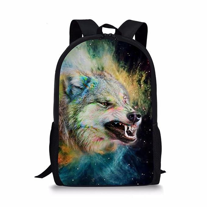7328b0c8b520 Showudesigns Personalized Animal Wolf Backpack Boys School Bagpack with  Handle