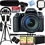 Canon EOS 77D 24.2 MP CMOS (APS-C) Digital SLR Camera with EF-S 18-135mm IS USM Lens w/Tascam DSLR Audio Recorder and Shotgun Microphone + 128GB & 64GB Pro Video Bundle