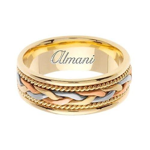 ALMANI 14 K oro 7 mm hecho a mano Tri Color anillos de boda 084 ...