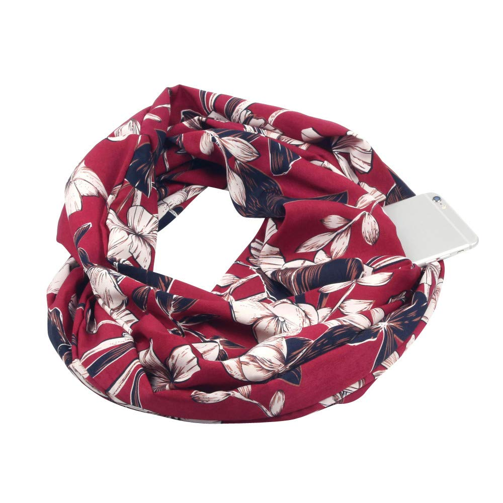 YESOt Lovers Men Women Print Winter Scarf Fashion Warm Loop Scarf Zipper Secret Pocket Elegant Scarf Best Gift (C)