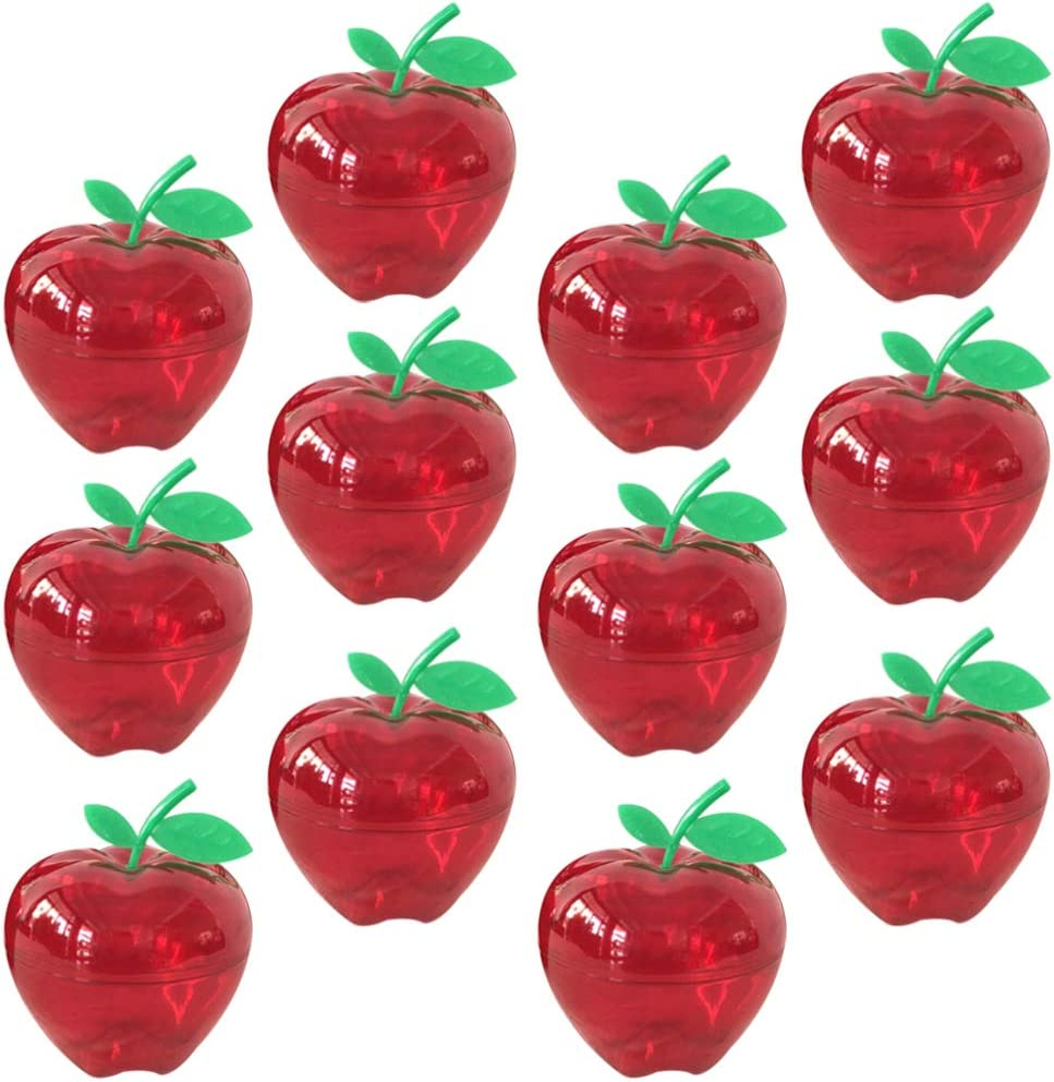 Hemoton 12pcs Plastic Bobbing Apples Filled Bobbing Apple Containers Toy Decorative Fruit Candy Box Christmas Tree Decorations