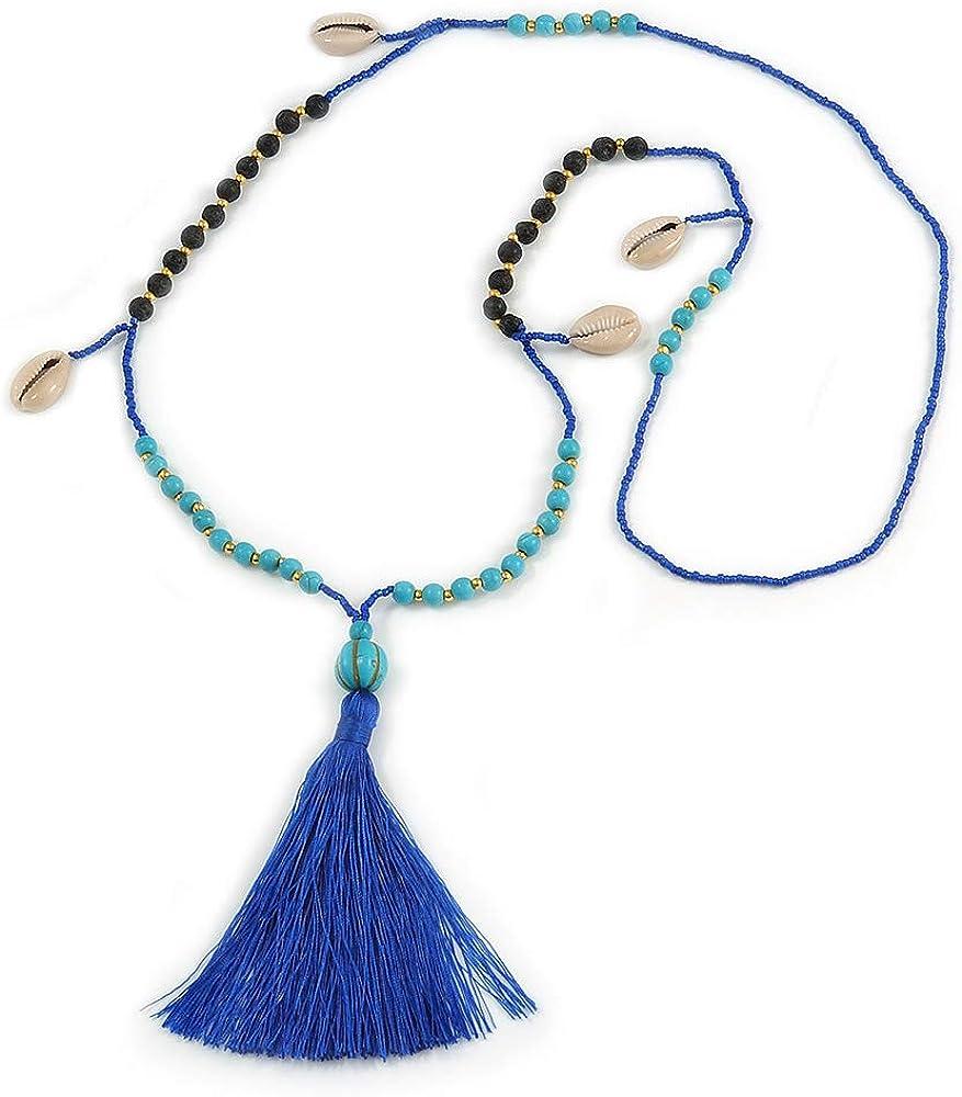 Avalaya - Collar largo con borla de algodón azul de 90 cm de largo y 12 cm de largo y perlas de árbol de imitación, diseño de concha de mar, color turquesa