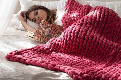 Merino Wool Giant Knit Bulky Hand Knit Blanket Home Decor Handmade Wedding gift Bulky Throw Throw Blanket Christmas Gift Chunky Knit Blanket 100/% Wool Anniversary Gift