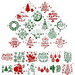 Gejoy 28 Pieces Christmas Stencils Plastic Drawing Stencils Christmas Templates Santa Claus, Snowflakes, Christmas Tree, Elk Pattern Stencils for DIY Craft Painting