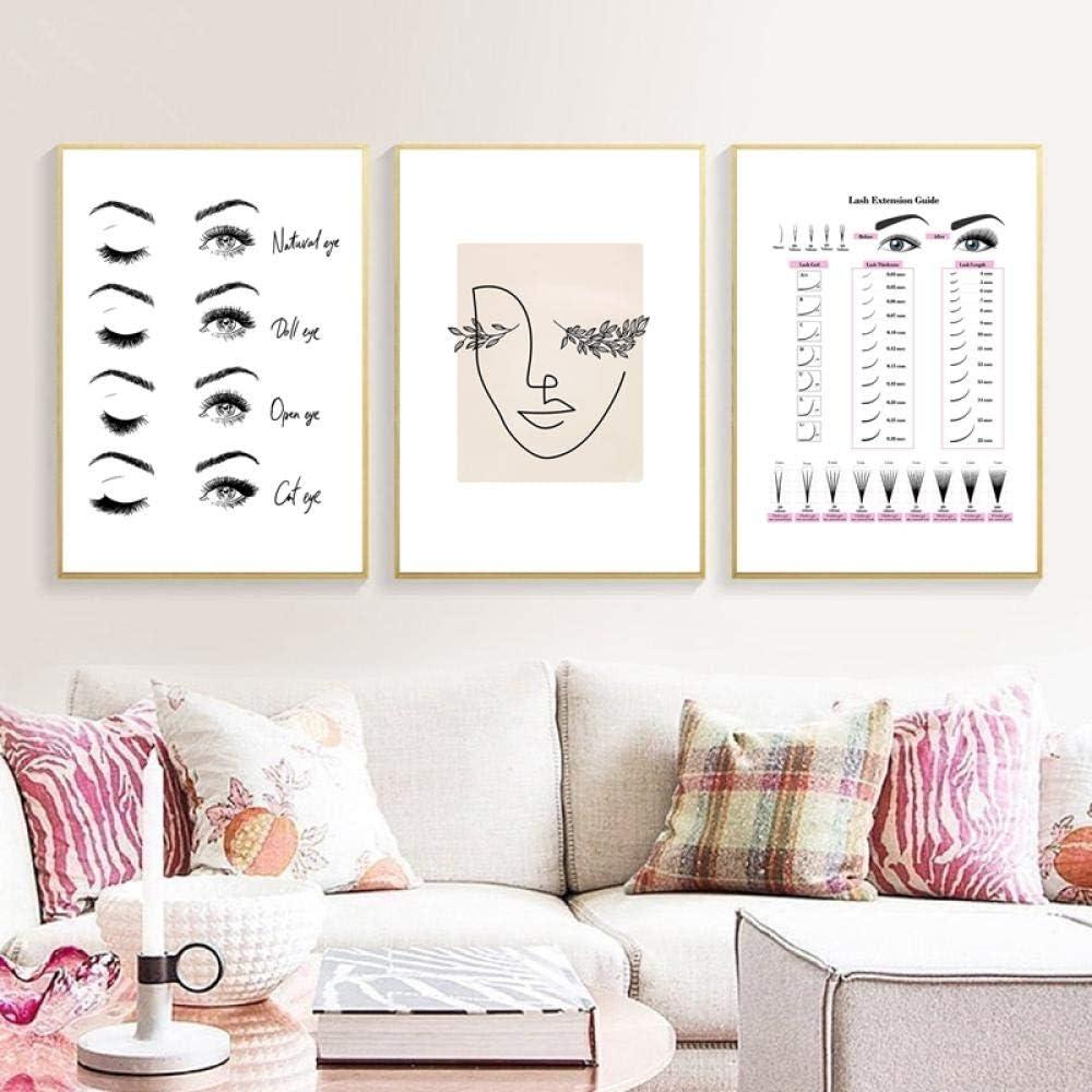 Modern Fashion Eyelash Extensions Prints Makeup Wall Art Canvas Painting Picture Nordic Poster Beauty Salon Decor Girls Gift 50X70Cmx3 No Frame