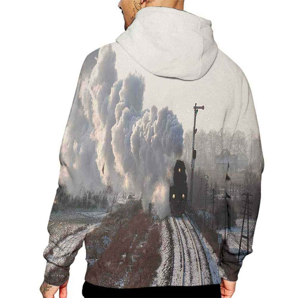 Hoodies Sweatshirt/ Autumn Winter Steam Engine,Train on Rails Winter Snow Landscape Steel Industrial Theme Rural Town Print,Pale Grey Sweatshirt Blanket