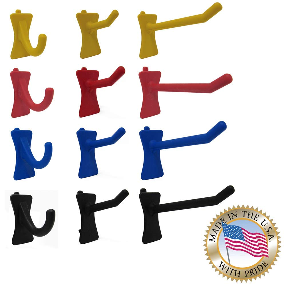 PegPro J, 1' & 2'' Straight Hooks by Greenleaf Industries - Secure Plastic Hooks For Your Wall Organizer - For Craft Storage, Garage, Kitchen, Tools and more (MultiPack - 72 Count, Power Mix)