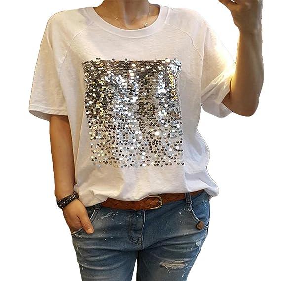 Yying Mujeres Manga Corta Camisetas - Elegante Cuello Redondo Shirt Lentejuelas Blusa Casual Camisa Tops para