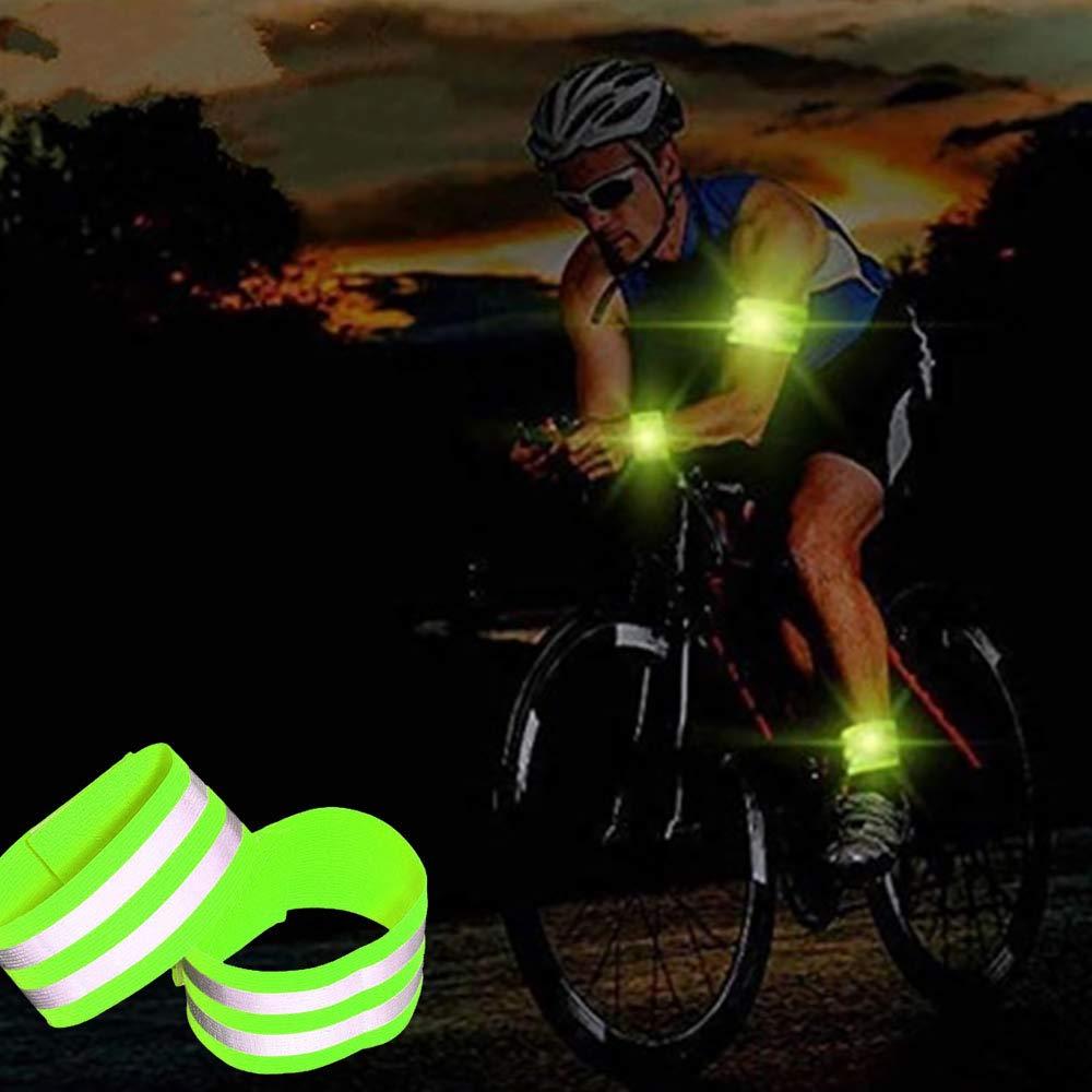 Unique Store Set de 4 Cintas Reflectantes Tira Fluorescente Ajustable Banda Reflectante ne/ón de Alta Visibilidad para Actividades Deportivas