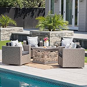 Venice Outdoor 5 Piece Chat Set with Mixed Black Wicker Swivel Club Chairs with Dark Grey Water Resistant Cushions and Stone Finished Fire Pit
