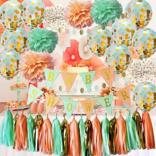 Qian's Party Mint Peach Baby Shower Decorations Glitter Gold Polka Dot Pom Pom Mint Peach Gold Confetti Balloons for Girl Sweet as a Peach Baby Shower Decorations Peach Mint Baby Shower Banner ()