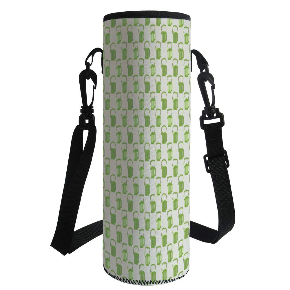 iPrint Water Bottle Sleeve Neoprene Bottle Cover,Green,Holiday Theme with Foamy Beer Glasses Celebration Fun Doodle Pattern Design,Apple Green White,Fit for Most of Water Bottles