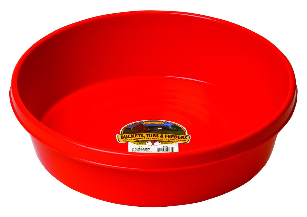 Little Giant P3RED Dura-Flex Plastic Utility Pan, 3-Gallon, Red