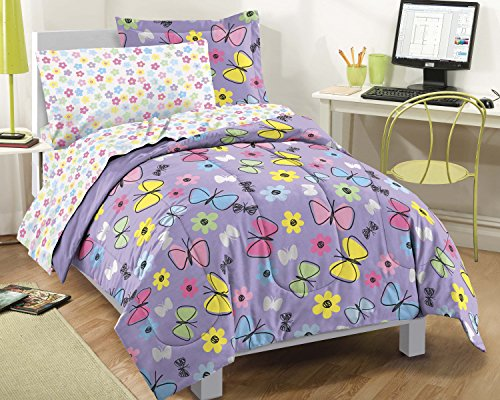 Dream Factory Sweet Butterfly Ultra Soft Microfiber Comforter Set, Purple, Full (Purple Full Bedding Sets)