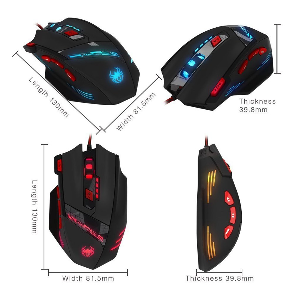 Gaming Mouse, Zelotes 9200 DPI Wired PC Gaming Mice, 8 Buttons Ergonomic Grips, 13 LED Mode and Weight Tuning Set for Windows Mac Macbook Linux - Black