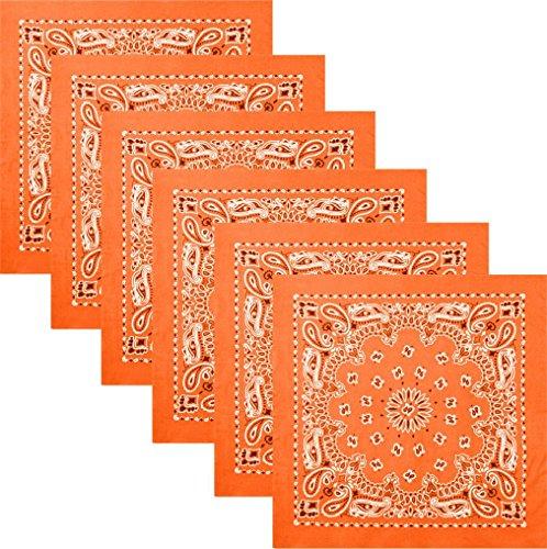 6 Pack - Orange Trainmen Cotton Paisley Biker Sport Bandana 22'' x 22'' by AMYE
