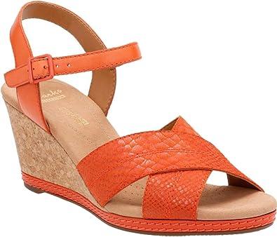 Clarks Women's Helio Latitude Wedge Sandal,Orange Leather/Suede,US 11.5 M