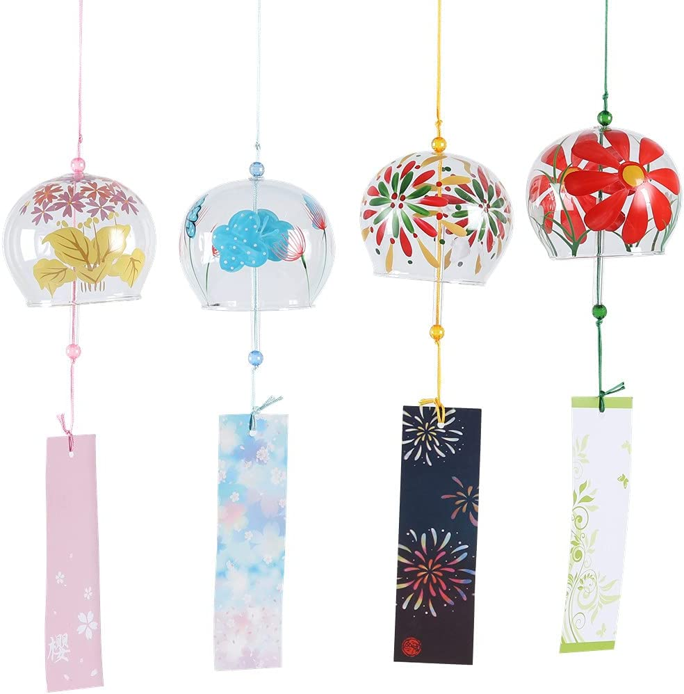 Falytemow Japanese Wind Chimes Romantic Flowers Small Wind Bells Handmade Glass Japanese Style Pendant for Birthday Gift Home Decors Pack of 4