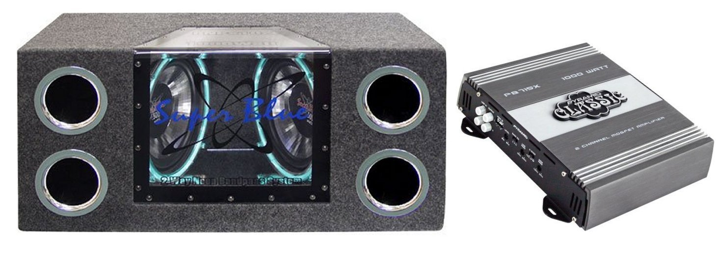 PYRAMID BNPS102 10'' 1000W Subwoofer Enclosure Subs Box + Pyramid Amplifier Amp