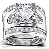 Solitaire Diamond Accent Wedding Rings - 5.56 Ct. Round Cubic Zirconia Promise Stacking Sets Size 6-9 (10)