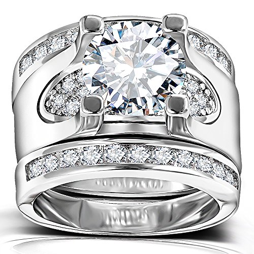 Solitaire Diamond Accent Wedding Rings - 5.56 Ct. Round Cubic Zirconia Promise Stacking Sets Size 6-9 (5) by Hiyong