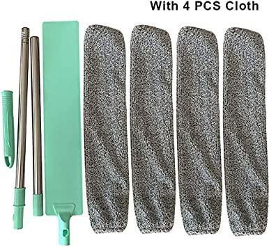 Vaugan Cepillo de Polvo para Cama Longitud Ajustable mopa de Mango Largo Color Verde Claro 95 cm Cepillo de Microfibra Reutilizable Herramientas de Limpieza Artefakt
