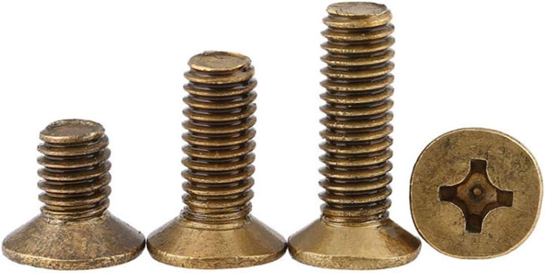 30pcs M2 M2.5 M3 M4 Croix t/ête frais/ée en laiton Vis /à t/ête plate Boulons en laiton M2,4mm