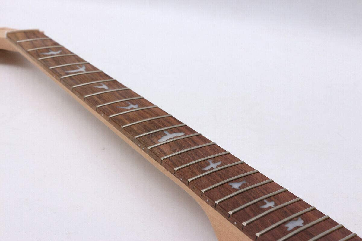 Unfinished Guitar Neck 24fret Mahogany Rosewood Fretboard Nice Inlay Set In Style