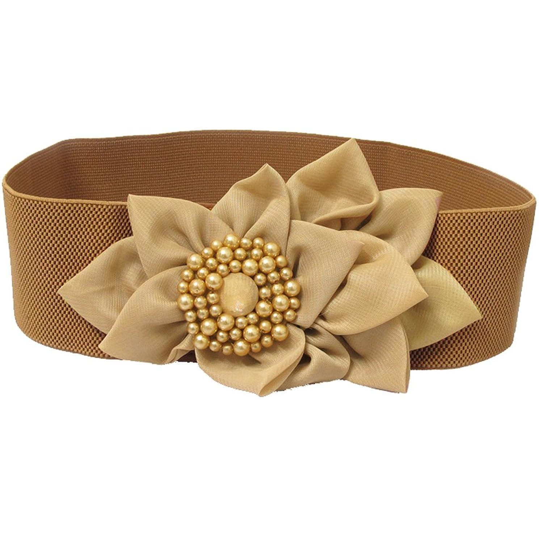 Deercon Women Elastic Chiffon Flower Stretch Wide Waistband Waist Belt(4 colors)