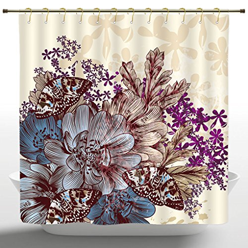 Fabric Shower Curtain by iPrint,Floral,Hand Drawn Pastel Col