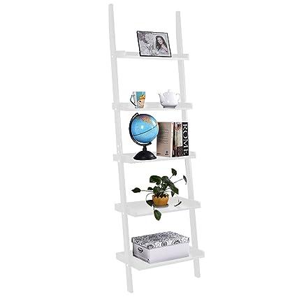 New White 5 Tier Bookcase Bookshelf Leaning Wall Shelf Ladder Storage Display Furniture