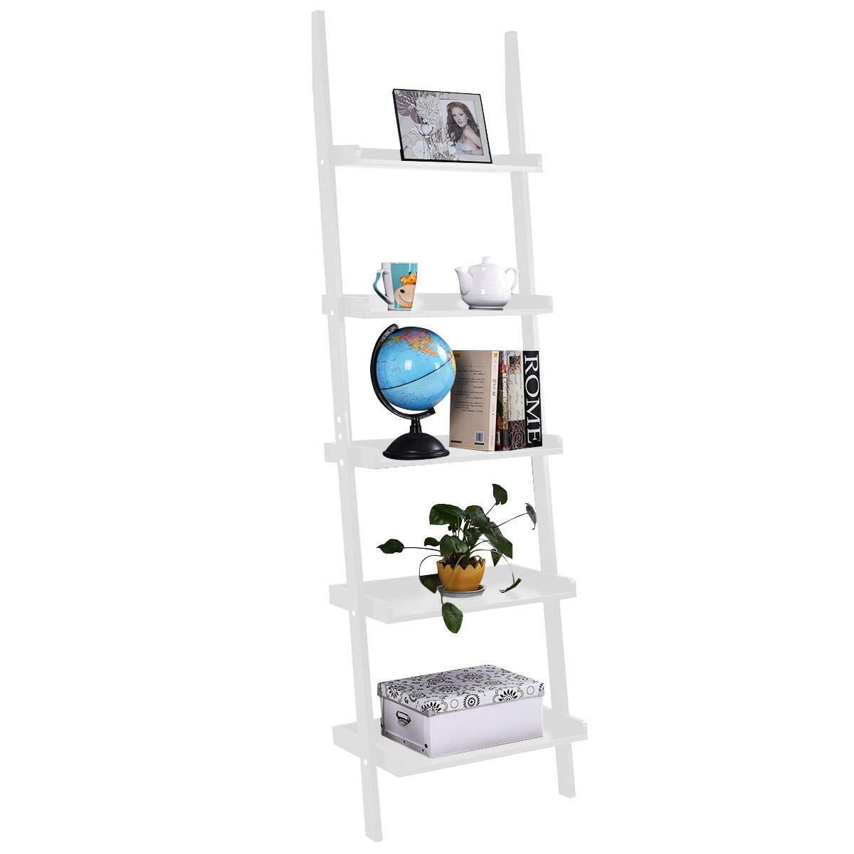 New White 5-Tier Bookcase Bookshelf Leaning Wall Shelf Ladder Storage Display Furniture