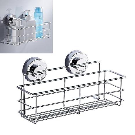 Wrighteu Cesta Ventosa Estante Adhesivo Soporte Organizador Acero Inoxidable de Baño Ducha Cocina